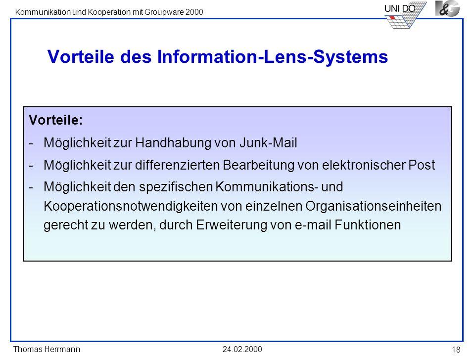 Vorteile des Information-Lens-Systems