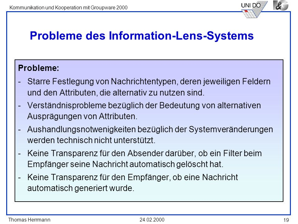 Probleme des Information-Lens-Systems