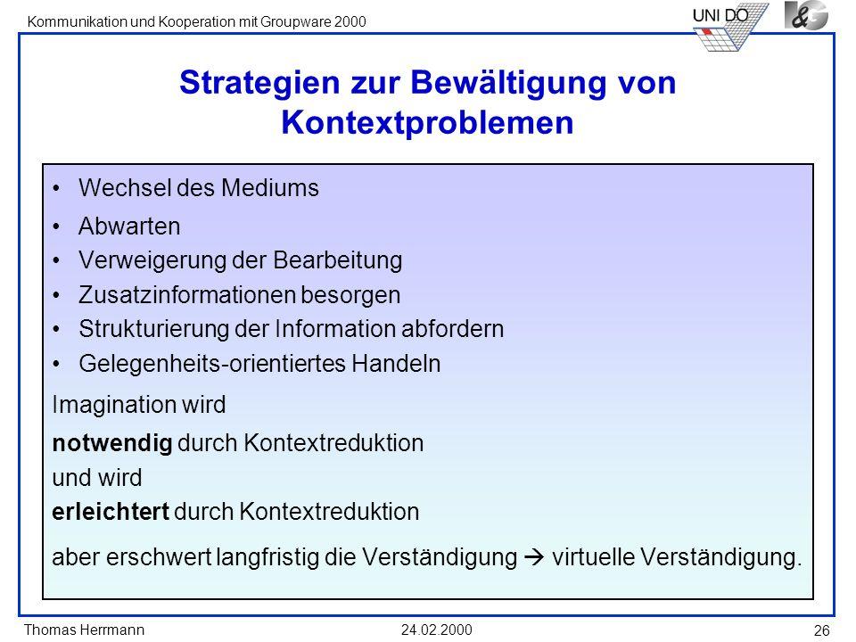 Strategien zur Bewältigung von Kontextproblemen
