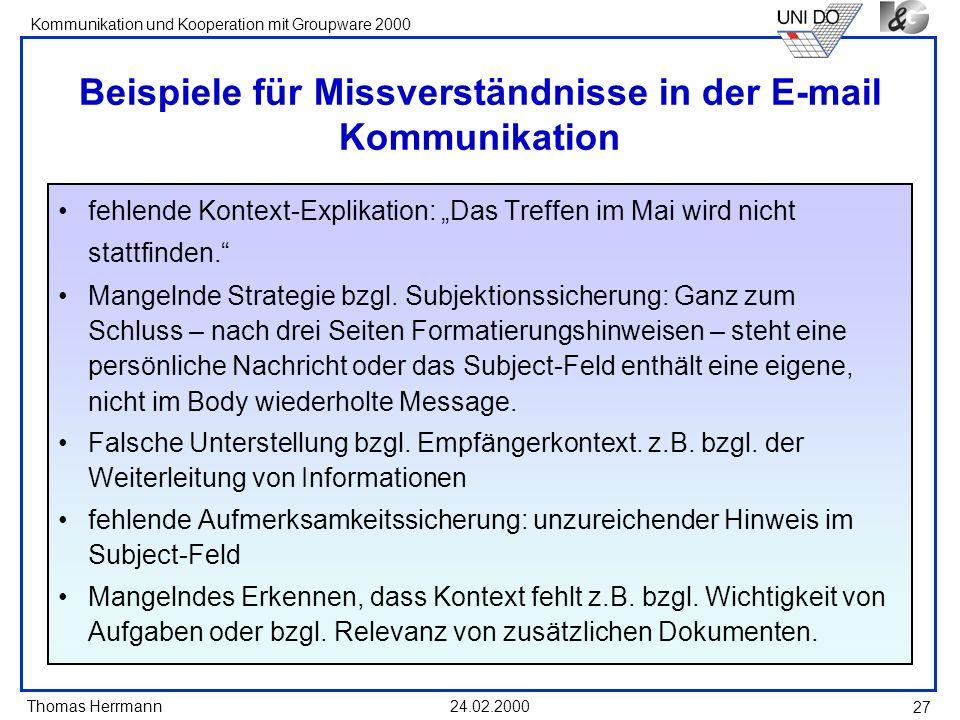 Beispiele für Missverständnisse in der E-mail Kommunikation