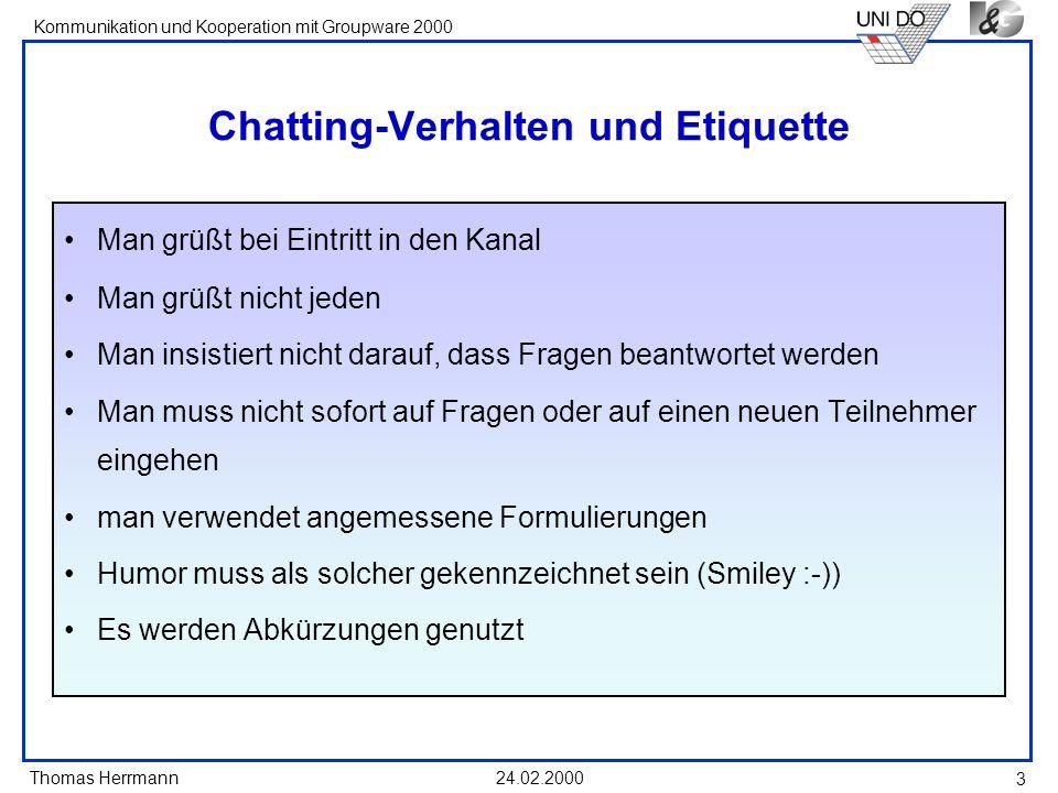 Chatting-Verhalten und Etiquette