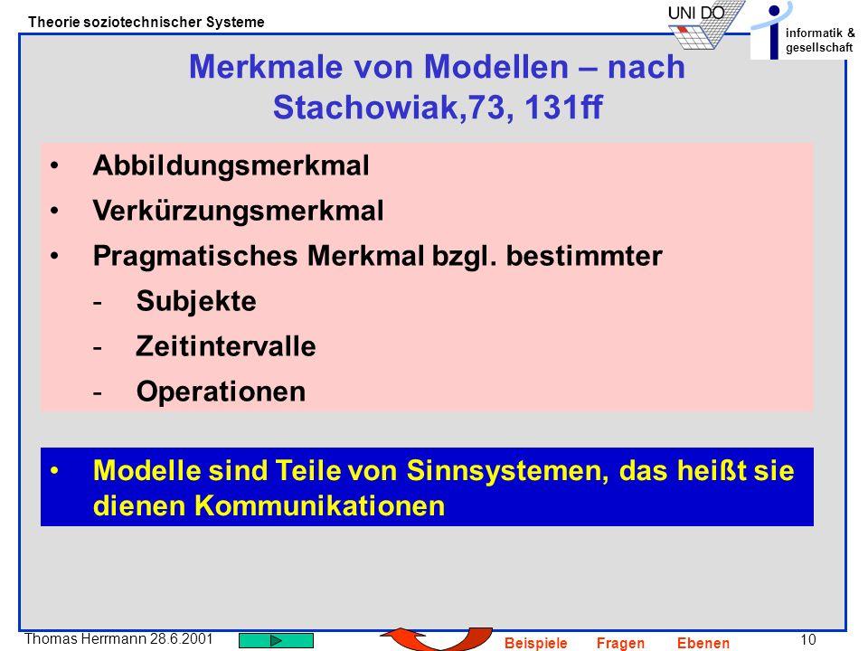 Merkmale von Modellen – nach Stachowiak,73, 131ff
