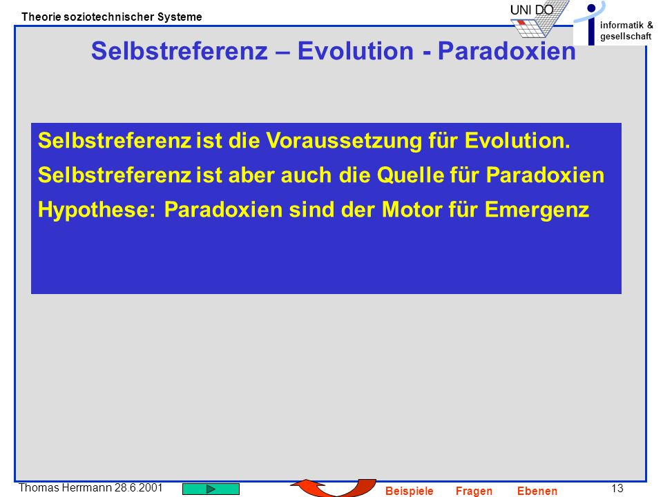 Selbstreferenz – Evolution - Paradoxien