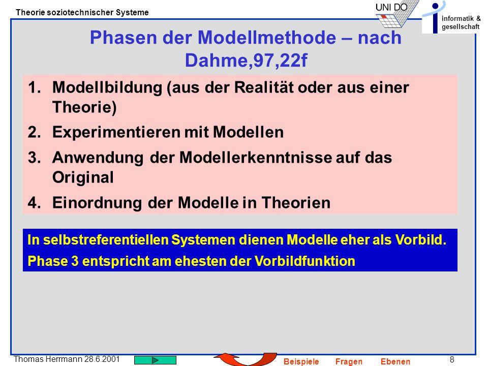 Phasen der Modellmethode – nach Dahme,97,22f