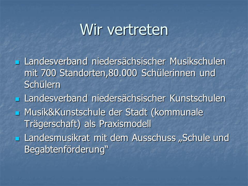 Wir vertreten Landesverband niedersächsischer Musikschulen mit 700 Standorten,80.000 Schülerinnen und Schülern.