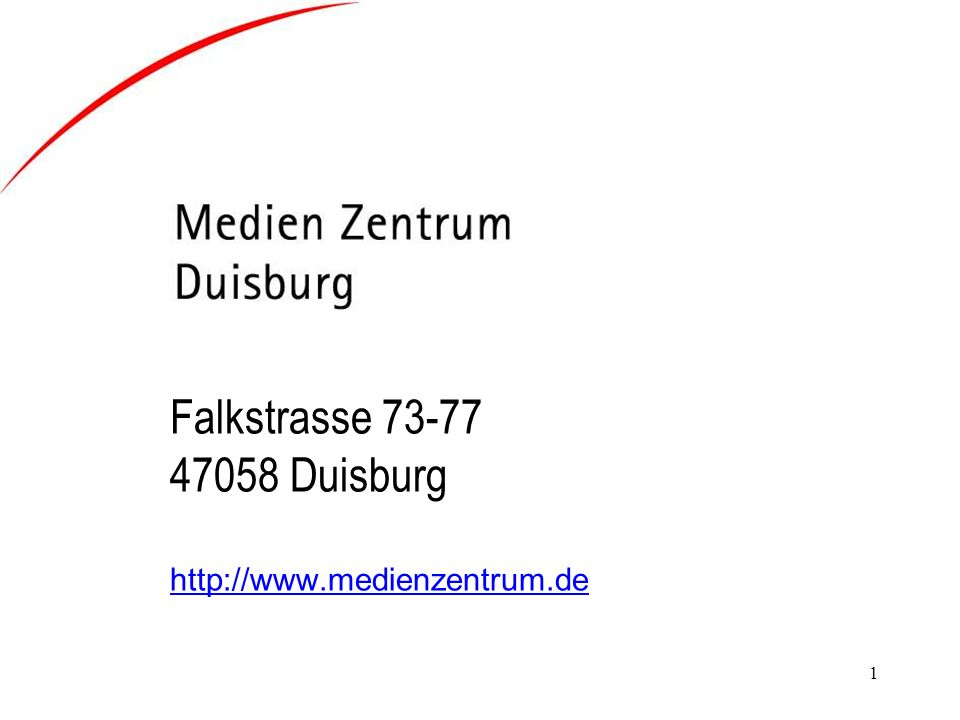 Falkstrasse 73-77 47058 Duisburg http://www.medienzentrum.de
