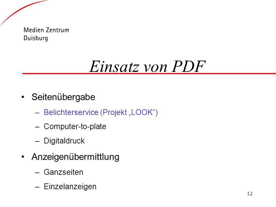 Einsatz von PDF Seitenübergabe Anzeigenübermittlung