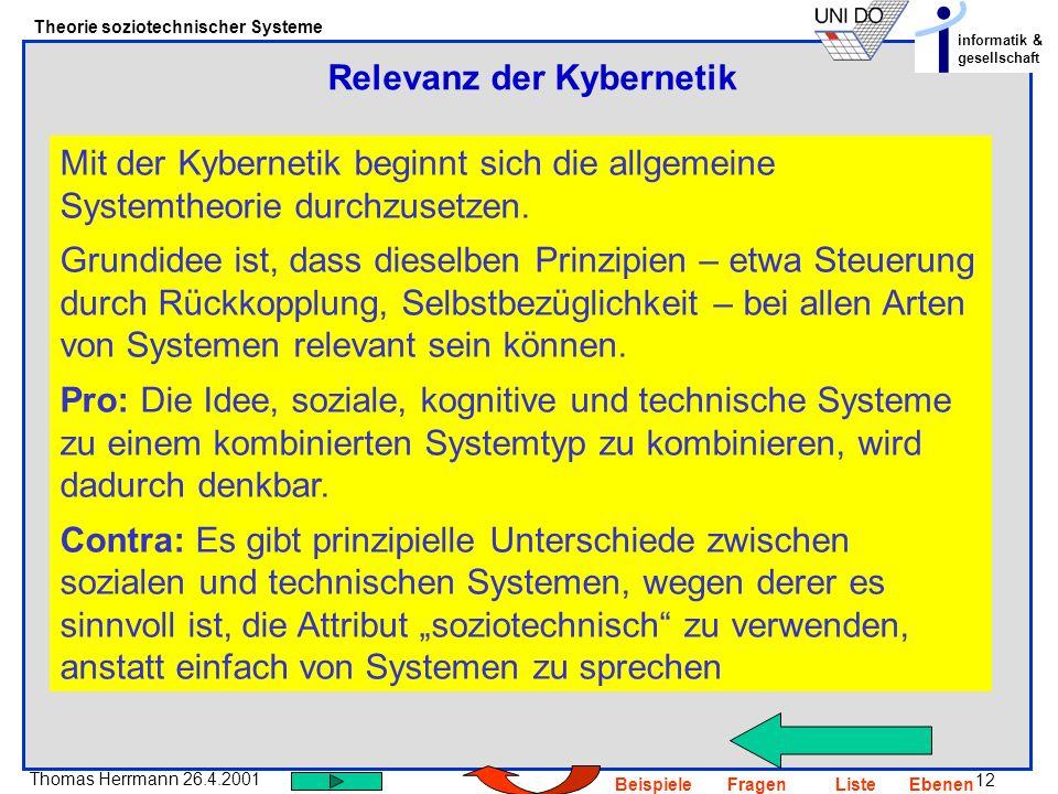 Relevanz der Kybernetik