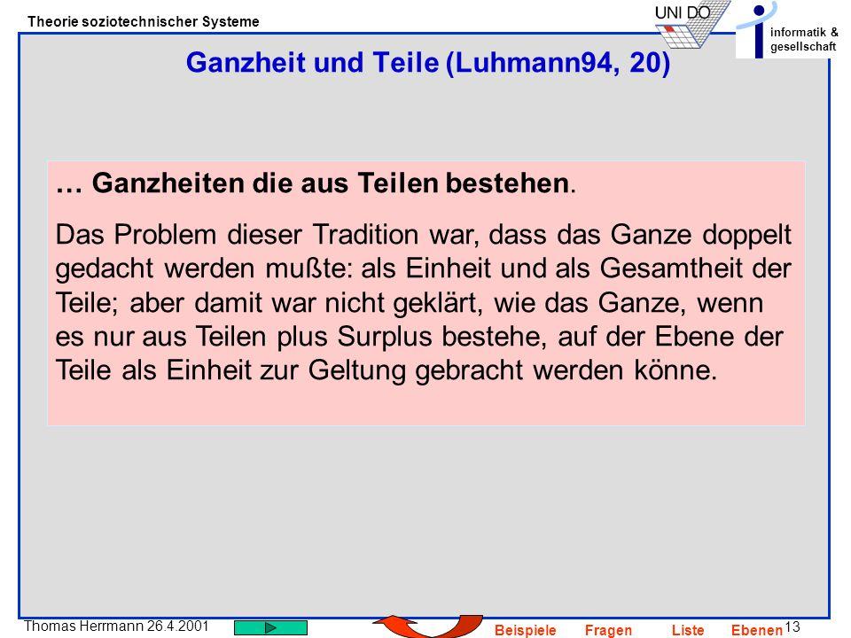 Ganzheit und Teile (Luhmann94, 20)