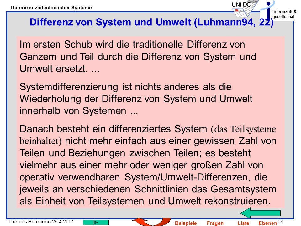 Differenz von System und Umwelt (Luhmann94, 22)