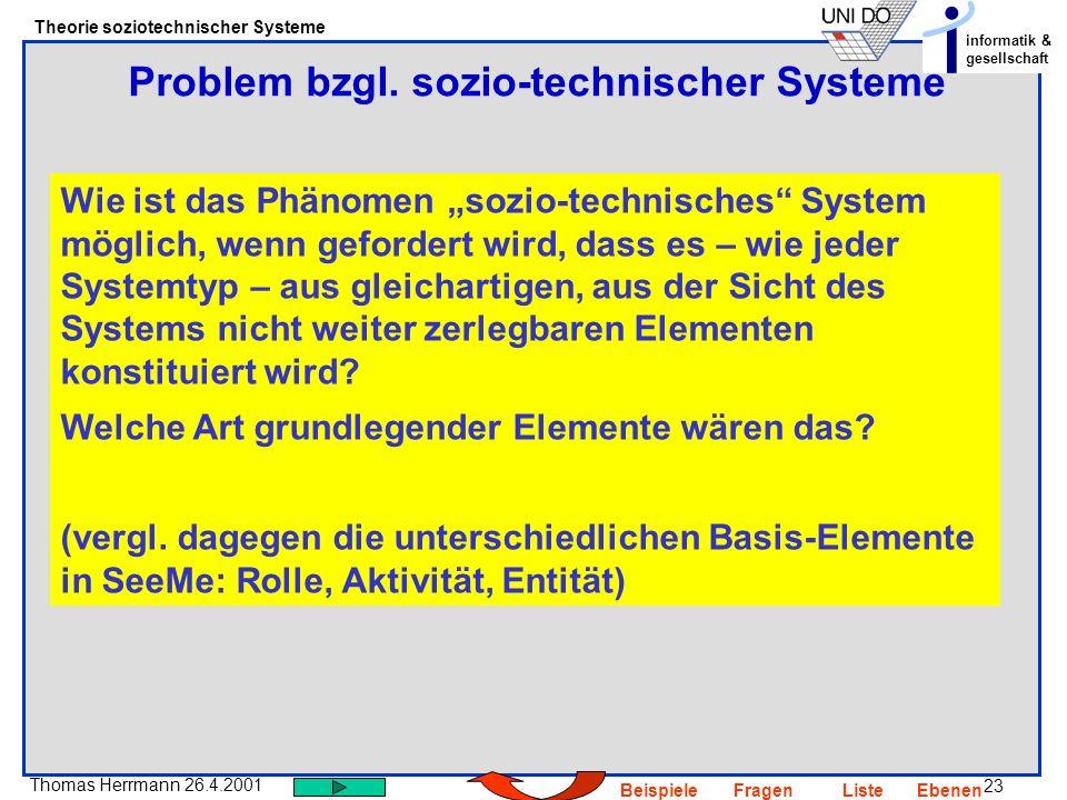 Problem bzgl. sozio-technischer Systeme