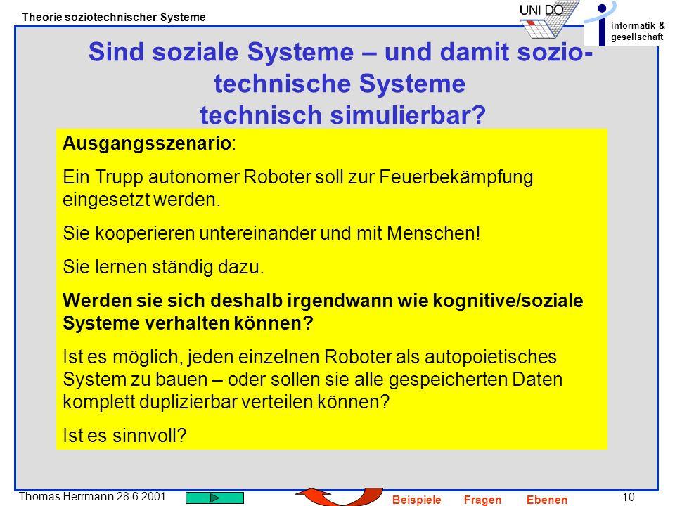 Sind soziale Systeme – und damit sozio-technische Systeme technisch simulierbar