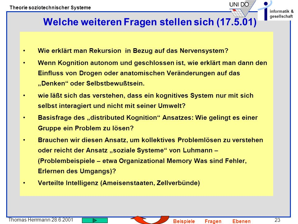 Welche weiteren Fragen stellen sich (17.5.01)