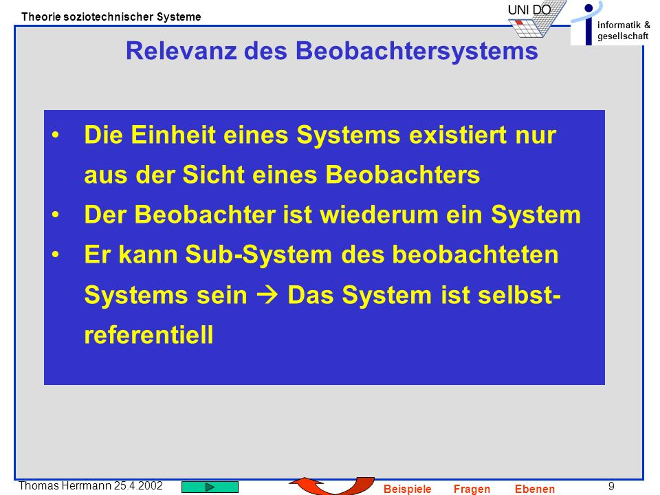 Relevanz des Beobachtersystems
