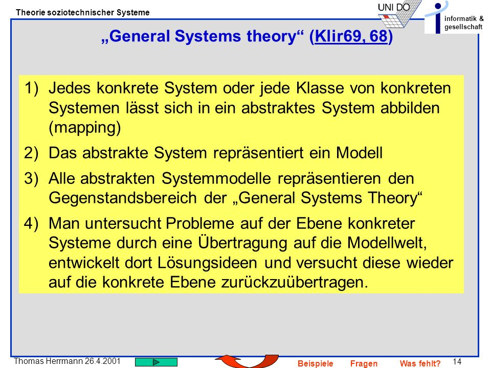 """General Systems theory (Klir69, 68)"