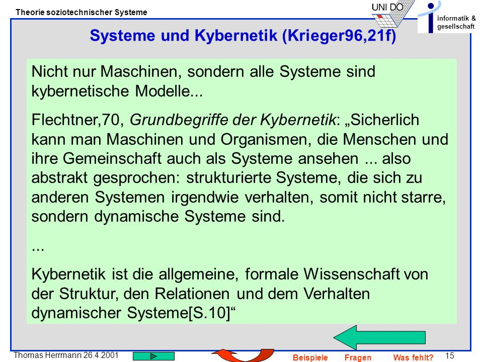 Systeme und Kybernetik (Krieger96,21f)