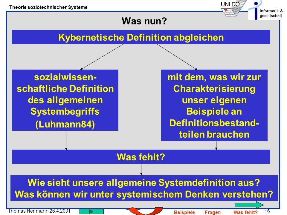 Kybernetische Definition abgleichen