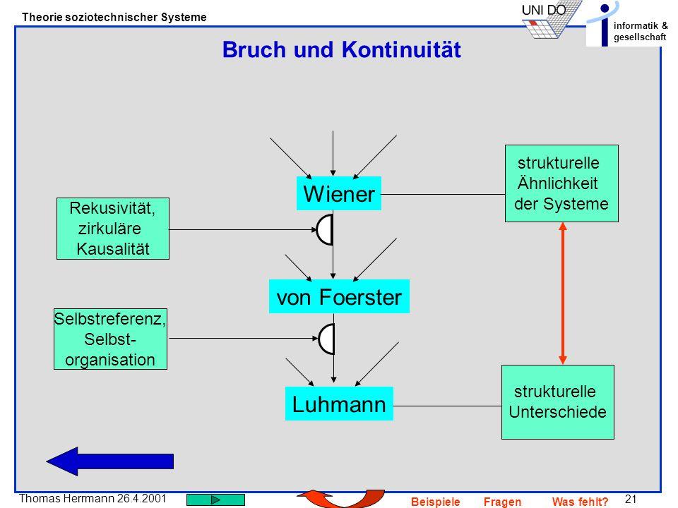 Bruch und Kontinuität Wiener von Foerster Luhmann strukturelle
