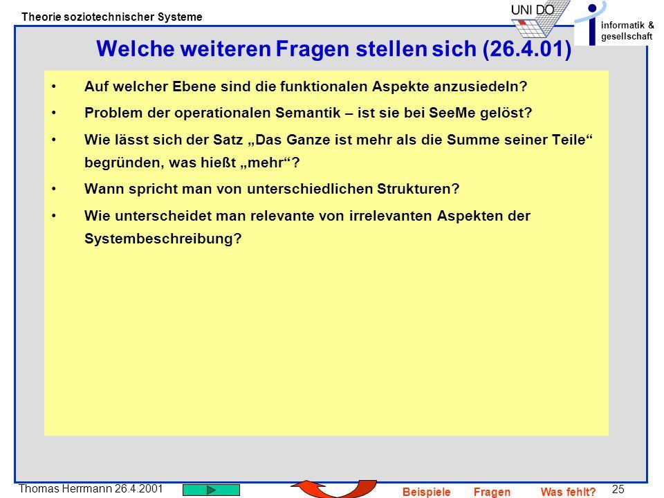 Welche weiteren Fragen stellen sich (26.4.01)