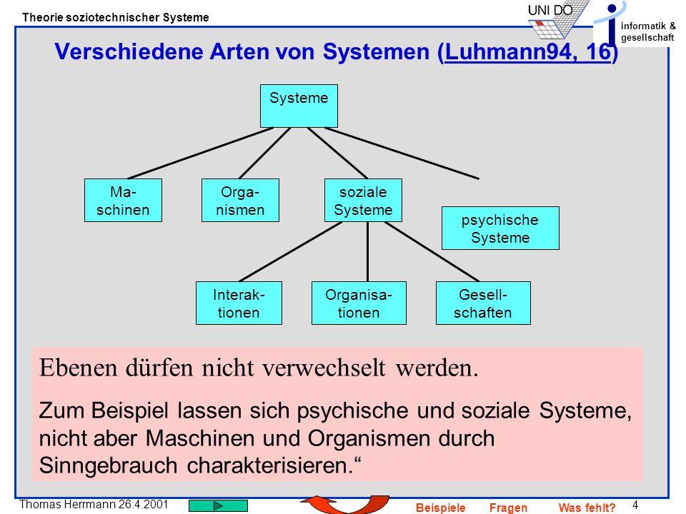 Verschiedene Arten von Systemen (Luhmann94, 16)