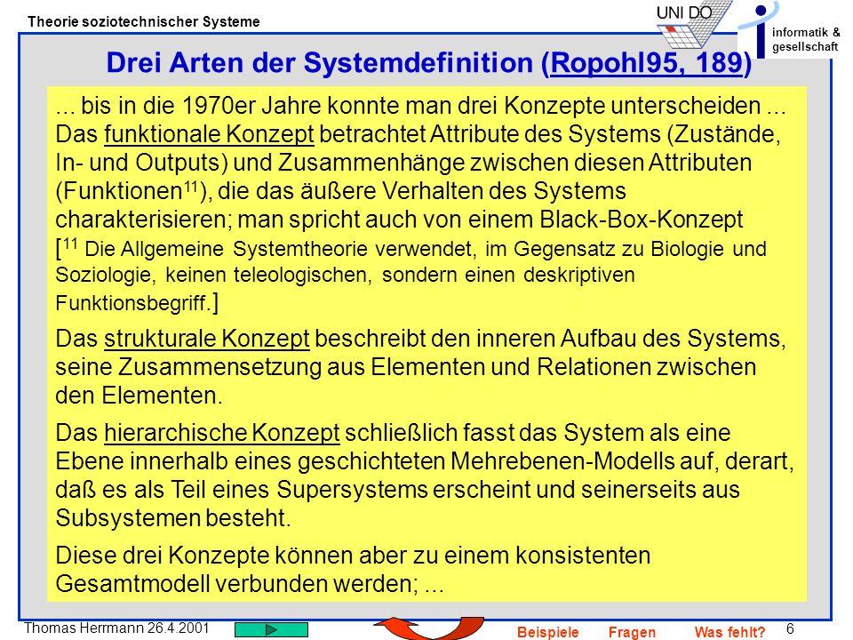 Drei Arten der Systemdefinition (Ropohl95, 189)