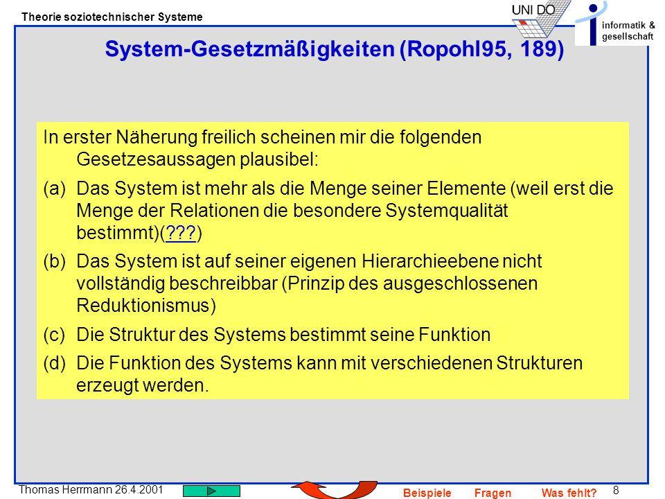 System-Gesetzmäßigkeiten (Ropohl95, 189)
