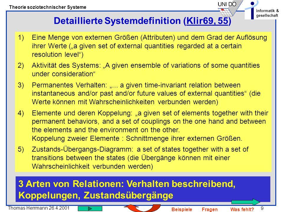 Detaillierte Systemdefinition (Klir69, 55)