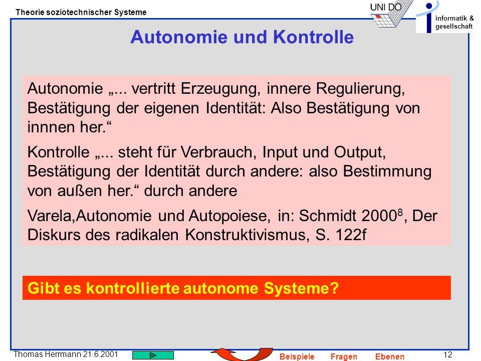 Autonomie und Kontrolle