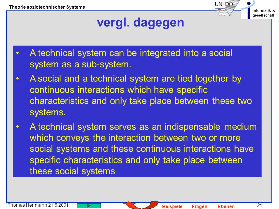 vergl. dagegenA technical system can be integrated into a social system as a sub-system.