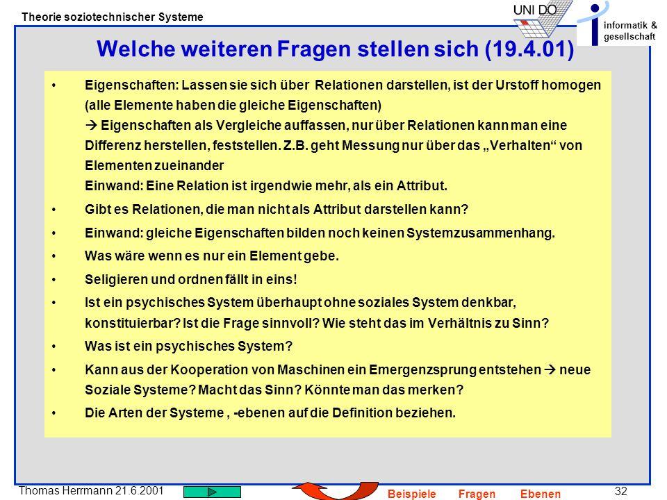 Welche weiteren Fragen stellen sich (19.4.01)