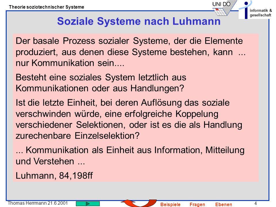 Soziale Systeme nach Luhmann