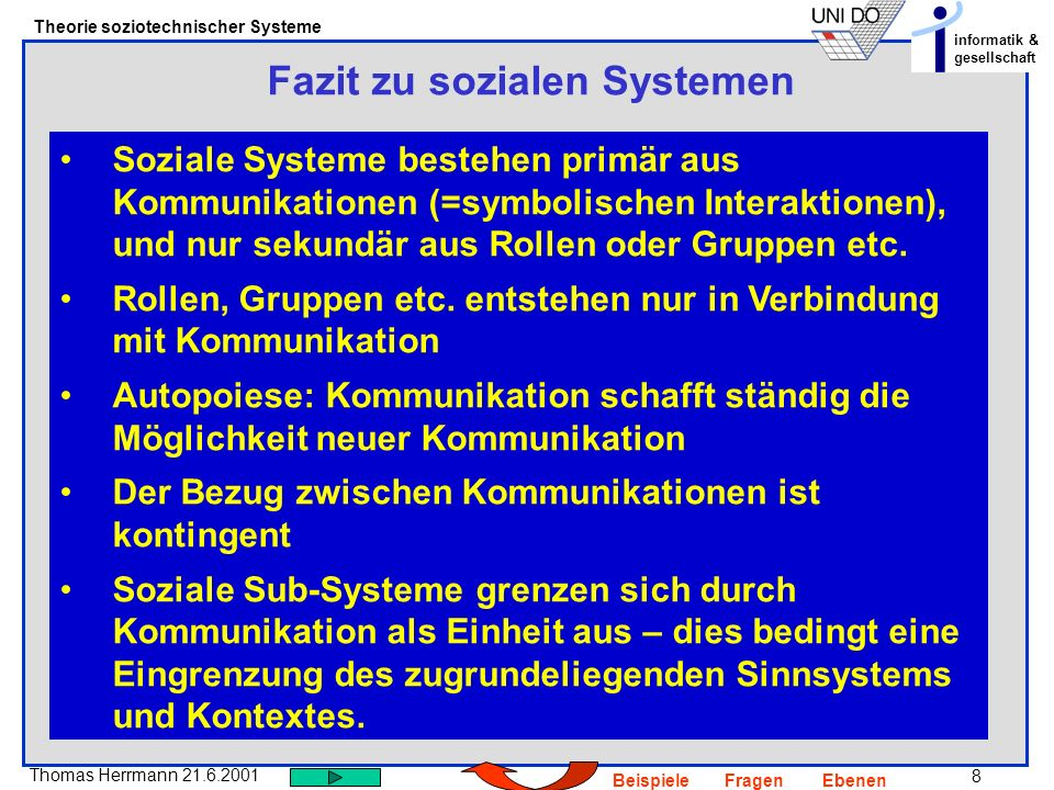 Fazit zu sozialen Systemen