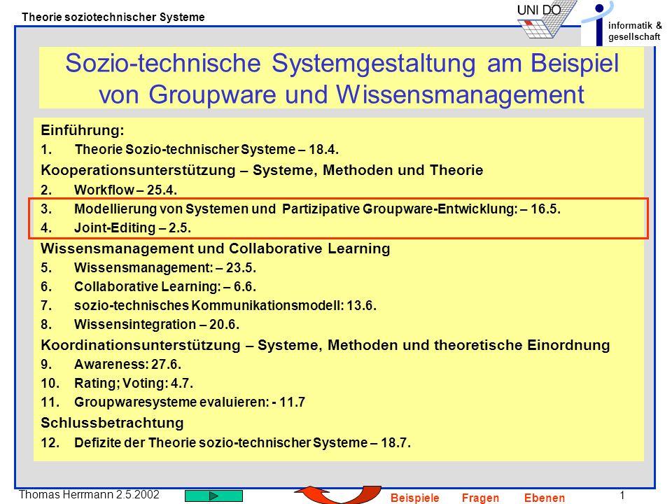 Sozio-technische Systemgestaltung am Beispiel von Groupware und Wissensmanagement