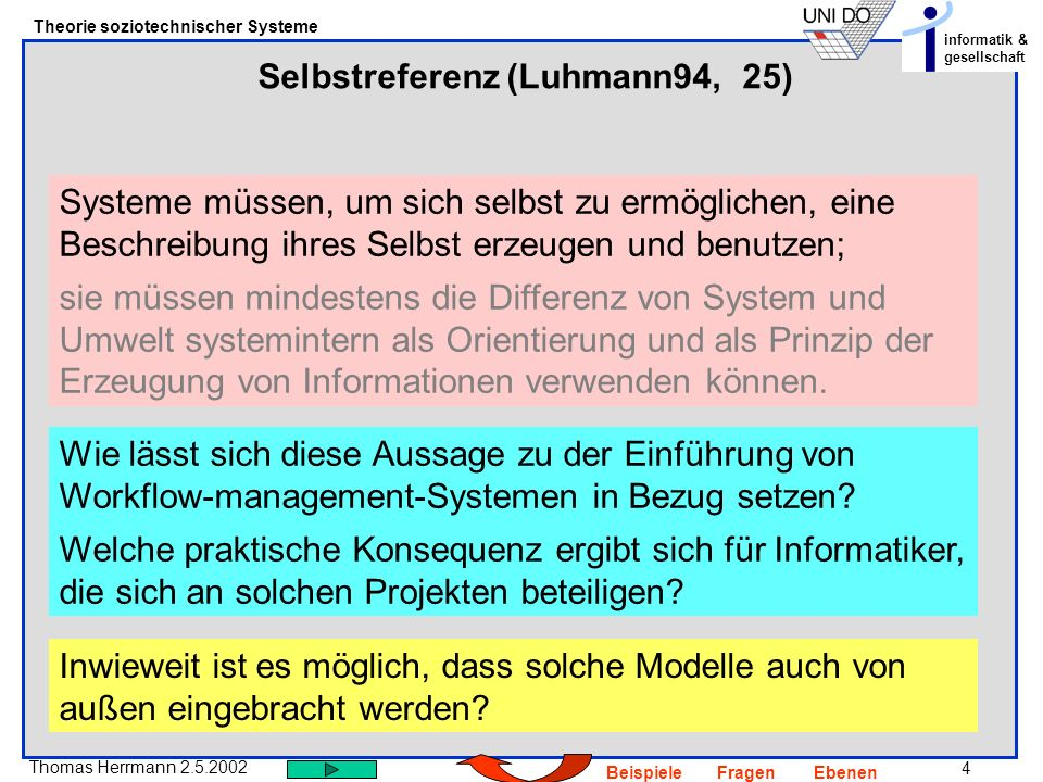 Selbstreferenz (Luhmann94, 25)
