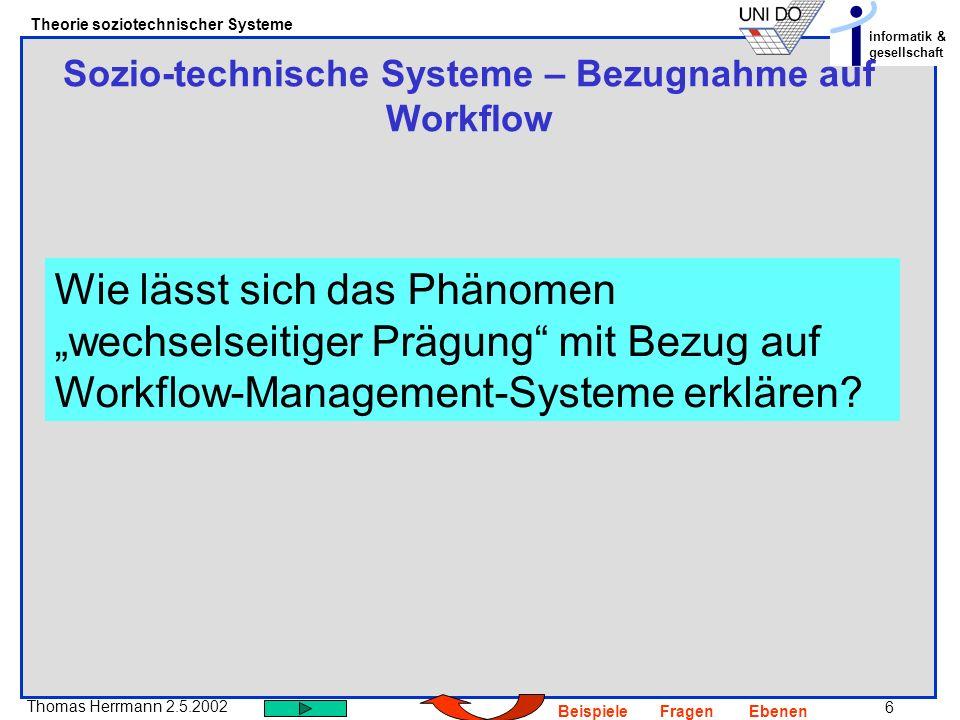 Sozio-technische Systeme – Bezugnahme auf Workflow
