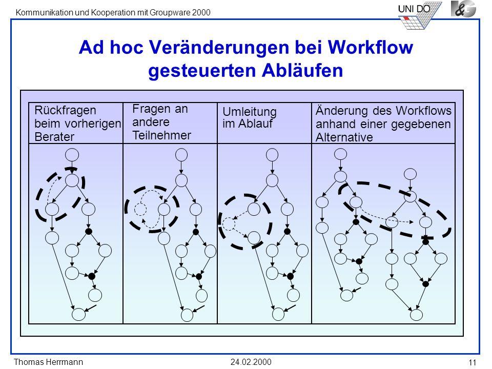 Ad hoc Veränderungen bei Workflow gesteuerten Abläufen