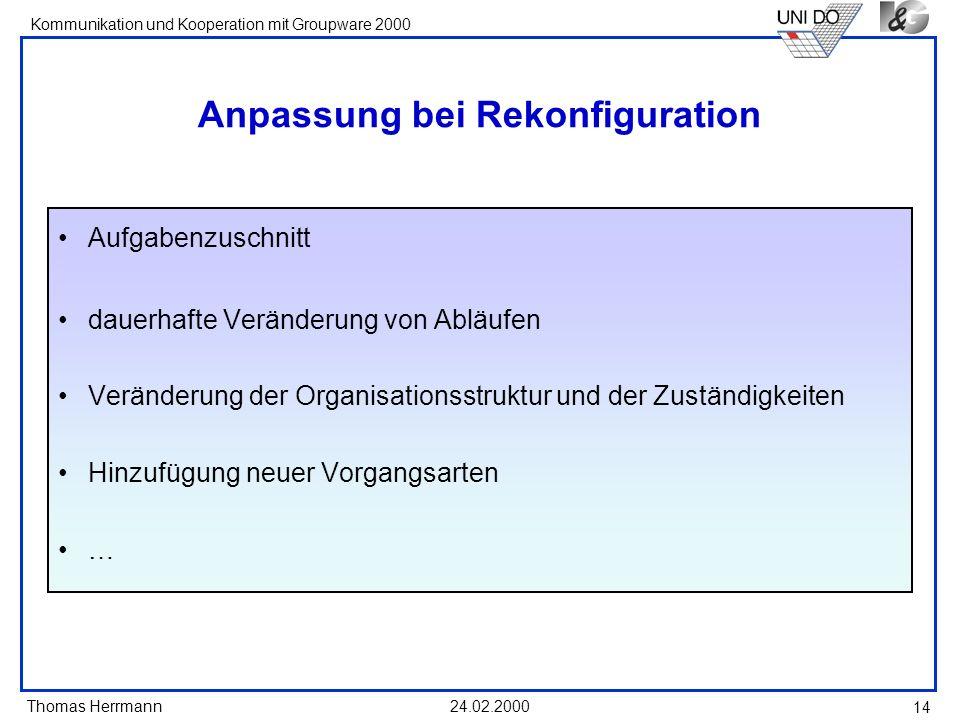 Anpassung bei Rekonfiguration