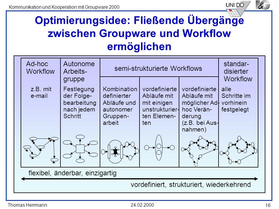 Optimierungsidee: Fließende Übergänge zwischen Groupware und Workflow ermöglichen