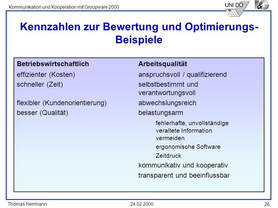 Kennzahlen zur Bewertung und Optimierungs-Beispiele