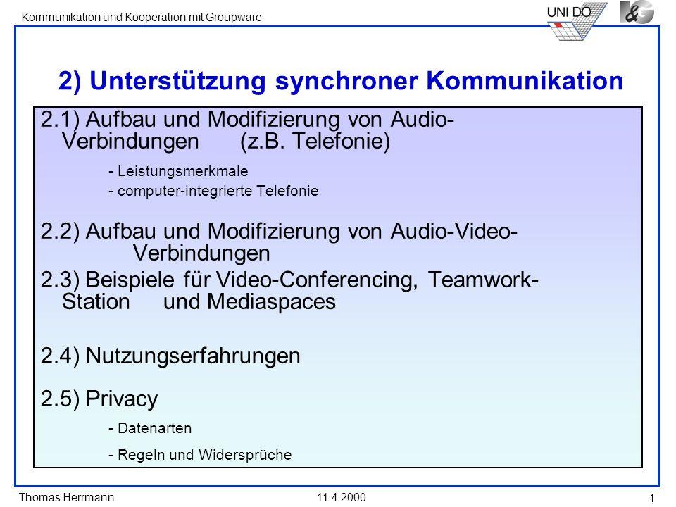 2) Unterstützung synchroner Kommunikation