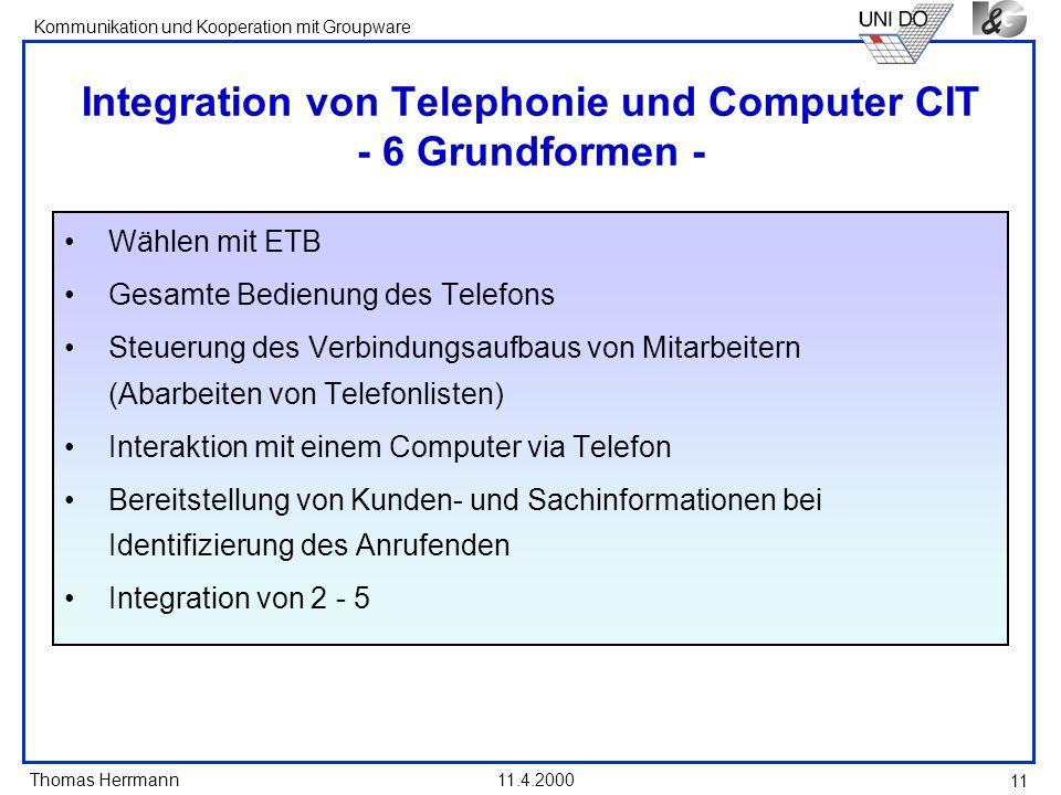 Integration von Telephonie und Computer CIT - 6 Grundformen -