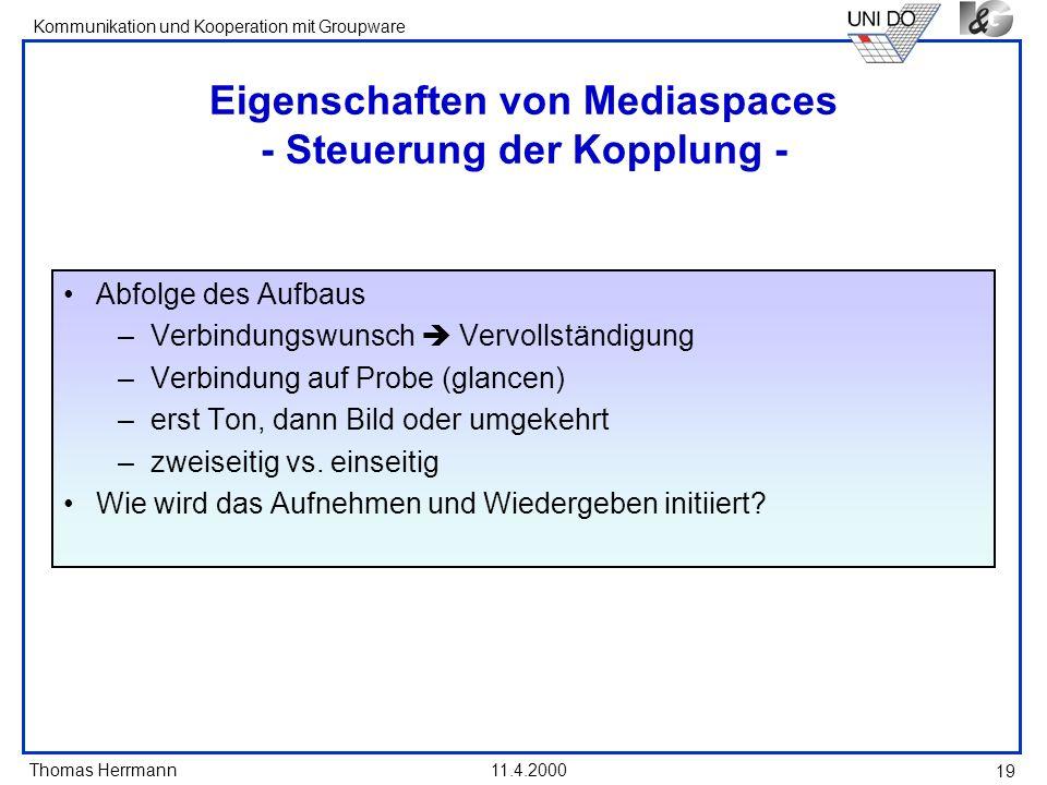 Eigenschaften von Mediaspaces - Steuerung der Kopplung -