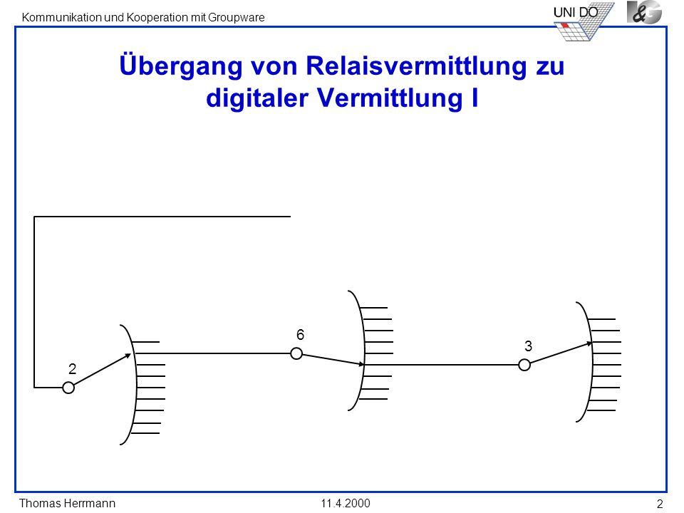 Übergang von Relaisvermittlung zu digitaler Vermittlung I