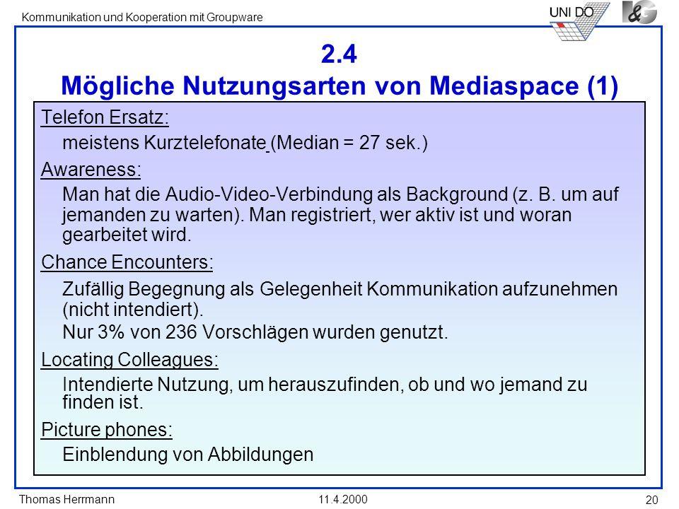 2.4 Mögliche Nutzungsarten von Mediaspace (1)