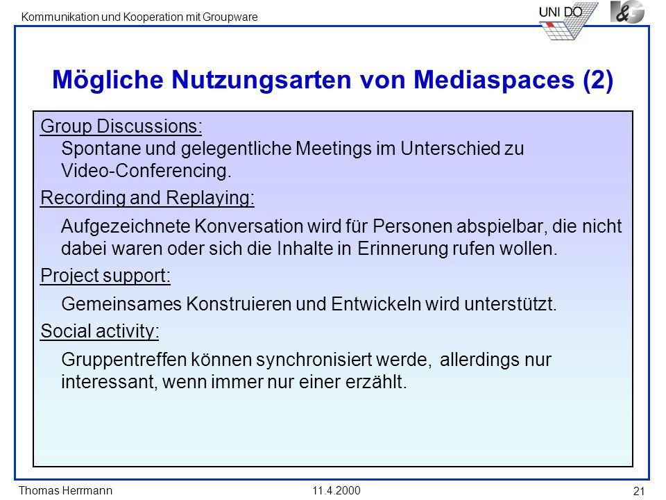 Mögliche Nutzungsarten von Mediaspaces (2)