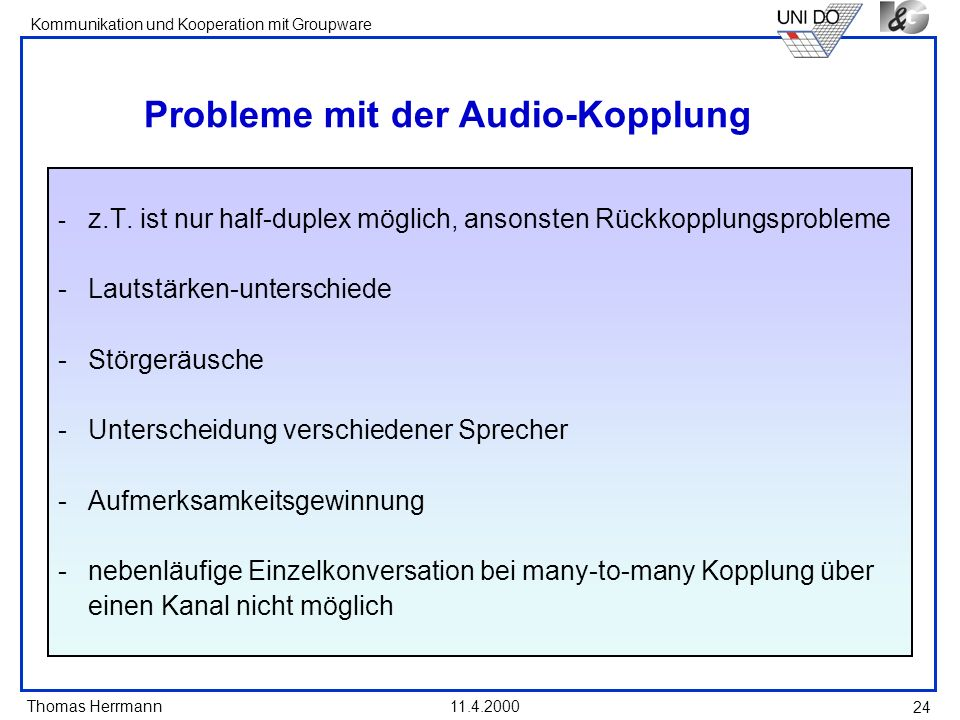 Probleme mit der Audio-Kopplung