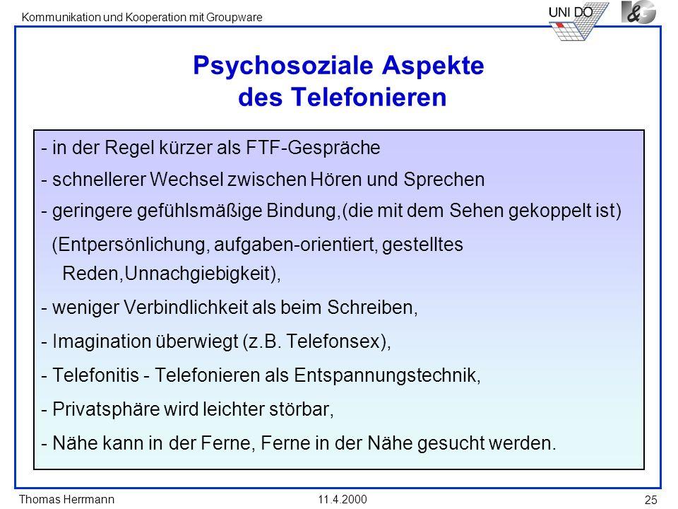 Psychosoziale Aspekte des Telefonieren