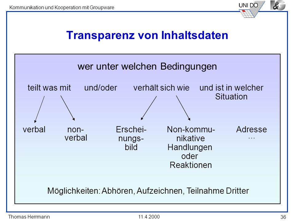 Transparenz von Inhaltsdaten