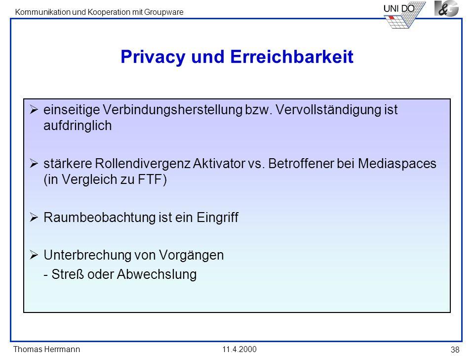 Privacy und Erreichbarkeit