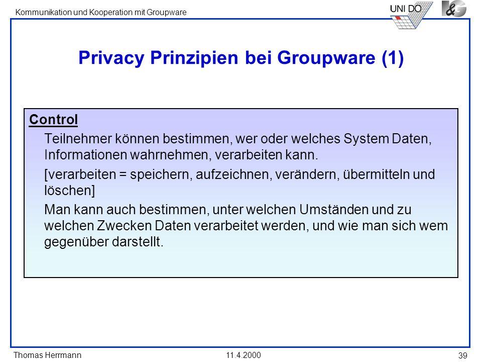 Privacy Prinzipien bei Groupware (1)